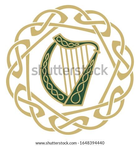 Ireland Harp musical instrument, illustration on the theme of St. Patricks day celebration, isolated on white, vector illustration Stock photo ©