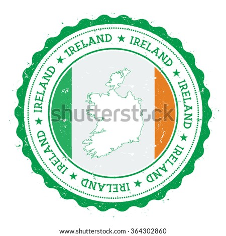 ireland map and flag in vintage