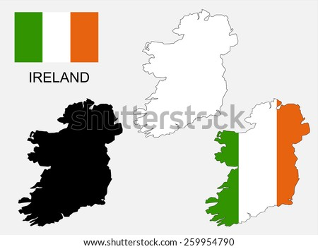 ireland map and flag vector