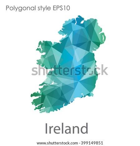 ireland map in geometric