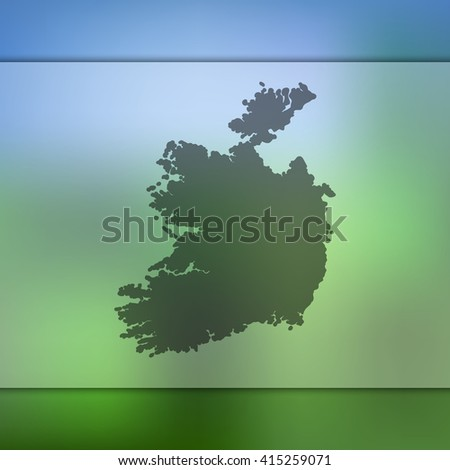 ireland map on blurred