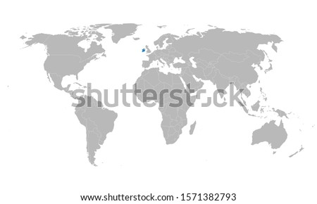 Ireland marked blue on world map vector. Gray background. Perfect for backgrounds, backdrop, poster, label, business concepts and wallpapers.