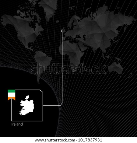 ireland on black world map map