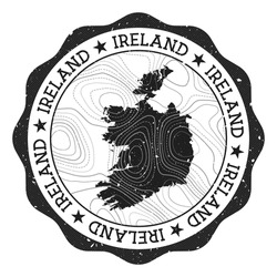 Ireland outdoor stamp. Round sticker with map of country with topographic isolines. Vector illustration. Can be used as insignia, logotype, label, sticker or badge of the Ireland.