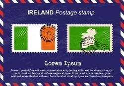 Ireland postage stamp, postage stamp, vintage stamp, air mail envelope.
