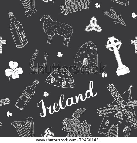 ireland sketch doodles seamless