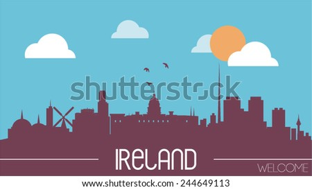 ireland skyline silhouette flat