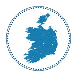 Ireland sticker. Travel rubber stamp with map of country, vector illustration. Can be used as insignia, logotype, label, sticker or badge of the Ireland.