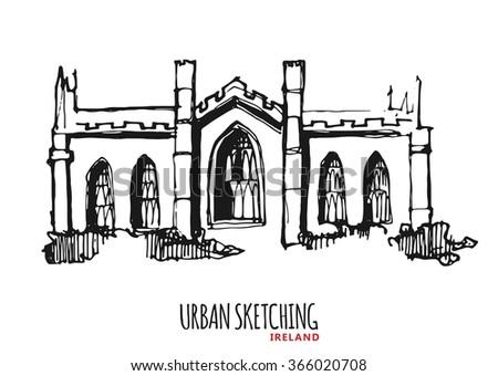 royalty free iran landmarks vector thin line icons 490107535 stock Ireland Scenery ireland urban sketch outdoor landscape park village city hand drawn