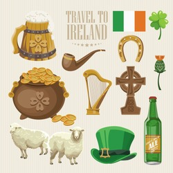 Ireland vector illustration with landmarks and irish castle. Colorful travel template.