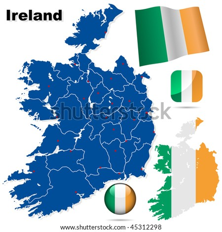 Ireland vector set. Detailed country shape with region borders, flags and icons isolated on white background.