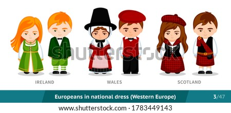 Ireland, Wales, Scotland. Men and women in national dress. Set of european people wearing ethnic traditional costume. Isolated cartoon characters. Western Europe. Vector flat illustration. ストックフォト ©
