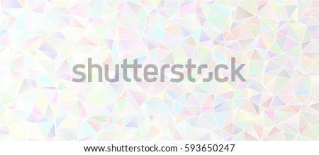 Iridescent Low Poly Background. White to Pastel Multicolored Icy Shiny Crystal Texture. Mother-of-pearl Opalescent Sparkling Facets. Vector Graphic for Web, Mobile Interfaces or Print Design.