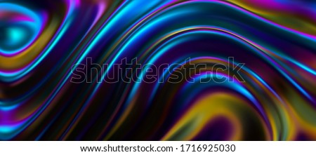 Iridescent surface with wavy ripples. Vector 3d illustration. Abstract fluorescent background. Fluid neon leak backdrop. Decoration for futuristic design. Ultraviolet viscous substance