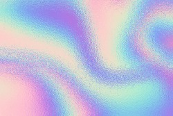 Iridescent texture. Holographic background. Hologram gradient neon color. Foil effect. Rainbow graphic. Chrome cosmic design for prints. Holography pattern. Pearlescent ombre. Pastel patern. Vector