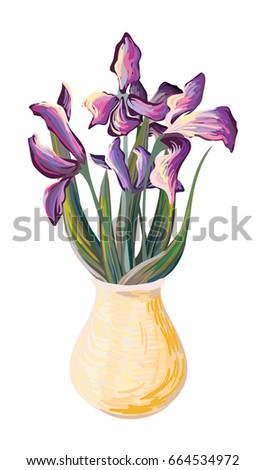 iris bouquet  painting style