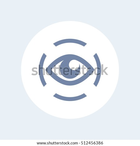iris scan icon isolated on white, eye scanning, biometric recognition