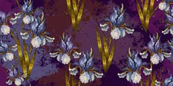 Irises flowers, embroidery horizontal seamless pattern. Renaissance art. Fashion art nouveau template for clothes, t-shirt design