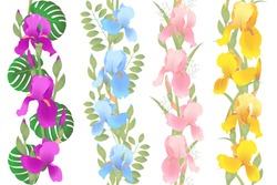 Irises whith buds and leaves yellow, purple, blue, pink flowers seamless vignette patterns. Set of vector illustrations