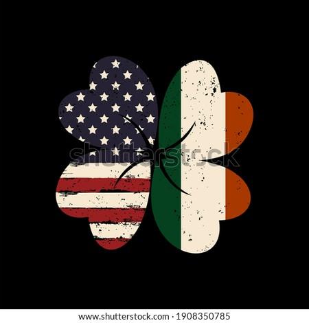 Irish and American Flag vector illustration Сток-фото ©