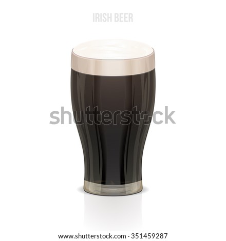 irish beer glass on white