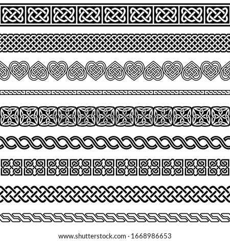 Irish Celtic vector seamless vector pattern set, border and frame collection, braided ornaments for greeting cards, St Patrick's Day celebration.  Retro Celtic collection of braided ornaments in black
