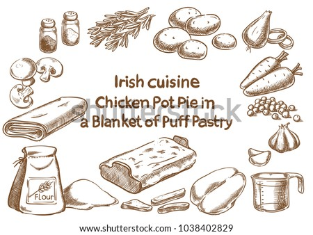 Irish cuisine. Chicken pot pie in a blanket of putt pastry ingredients. Sketch drawing.