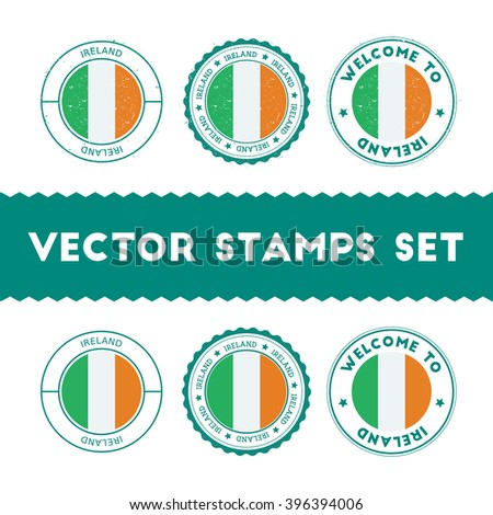 irish flag grunge rubber stamp