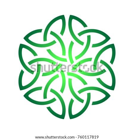 Irish green celtic shamrock knot in circle. Symbol of Ireland.