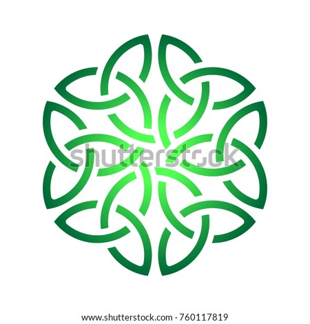 Irish green celtic shamrock knot in circle. Symbol of Ireland. Shamrock symbol. Trinity.