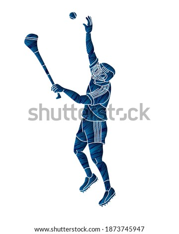 Irish Hurley sport. Hurling sport player action cartoon graphic vector.