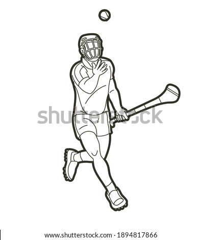 Irish Hurley sport. Hurling sport player action cartoon graphic vector