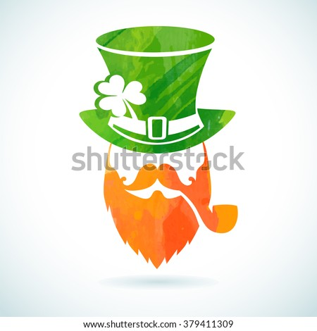 Irish leprechaun logo for greeting card template of St. Patrick's day