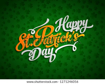 Irish lucky Saint Patrick's day text label design elements on green background