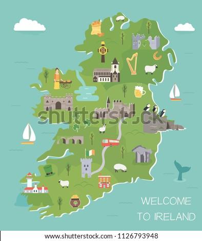 irish map with symbols of
