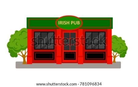 Irish Pub Building. Vector cartoon illustration isolated on white background.