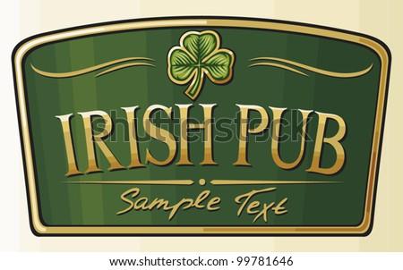 irish pub label design