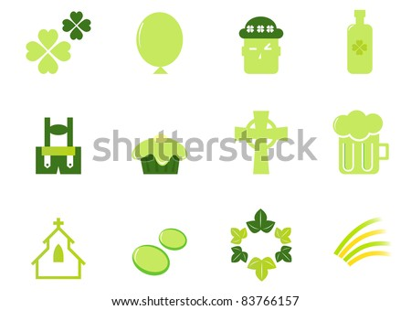 Irish & Saint Patrick's Day icons and elements isolated on white - green Design icons set for Patrick's Day - vector.