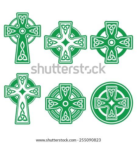 Irish, Scottish Celtic green cross on white vector sign  Stock photo ©