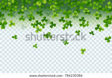 Irish shamrock falling leaves isolated on transparent background. Green irish symbol Good Luck. Vector clover pattern for Saint Patrick's Day holiday greeting card design