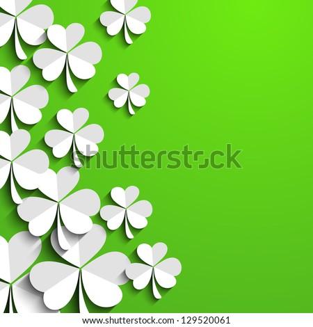 Irish shamrock leaves background for Happy St. Patrick's Day. EPS 10.