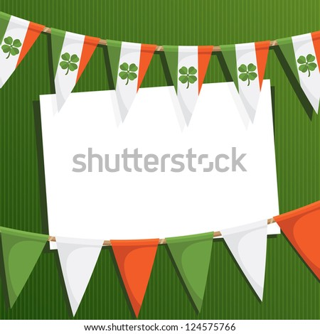 irish st patricks day party card with bunting and card for text