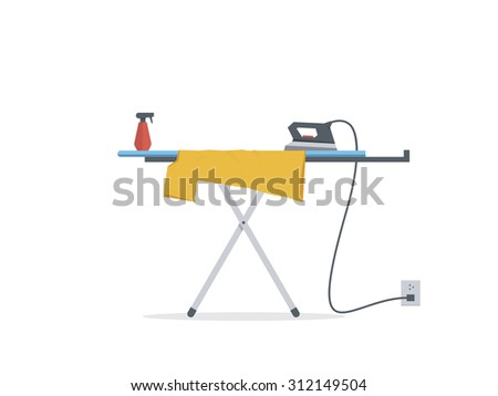 Iron And Clothes On Ironing Board, Flat Design