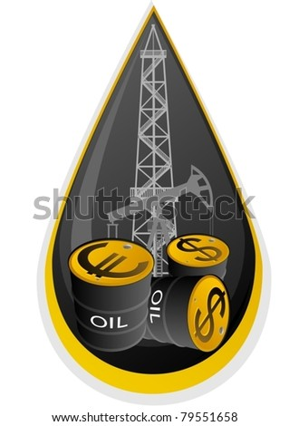 Iron barrels of oil products and images on them currency symbols against oil installations. Illustration on the background of the oil droplets.