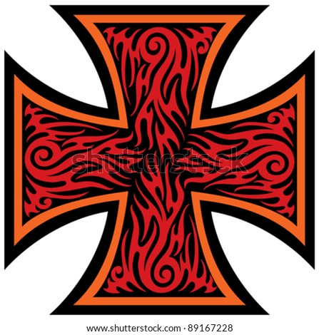 iron cross tattoo style  tribal