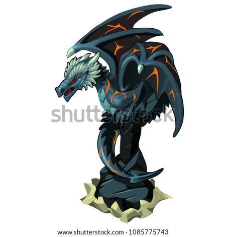 iron dragon statue on pedestal