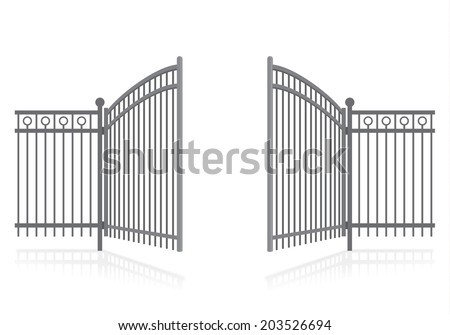 iron fence with gate   vector
