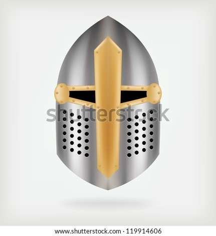 Iron helmet of the medieval knight. Vector