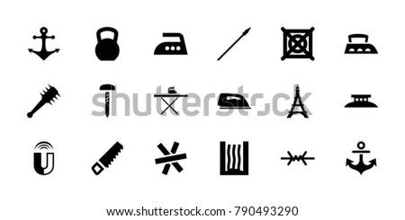 iron icons set of 18 editable