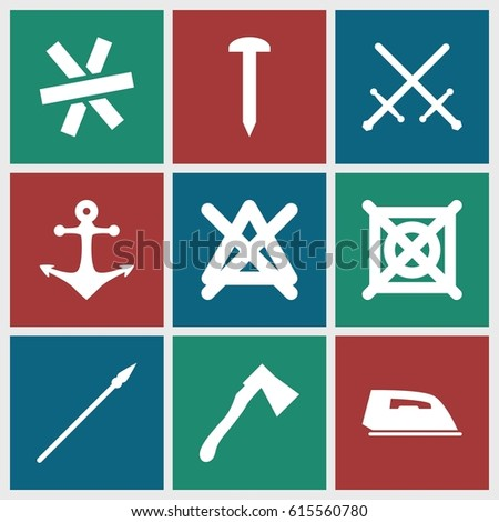 iron icons set set of 9 iron